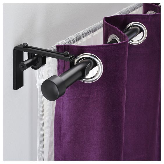 Racka Hugad Double Curtain Rod Combination Black Ikea