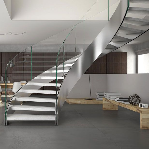 Best Exclusive Glass Railing Curved Staircase Staircase 400 x 300