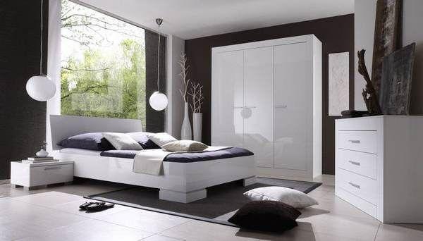 Chambre adulte complète design BELLISSIMA, coloris blanc laqué ...