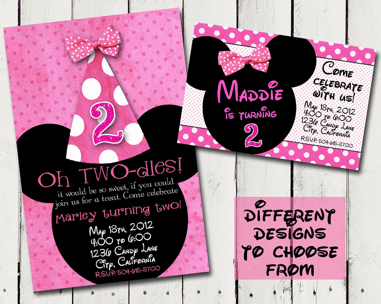 Pink and White Dots Minnie Mouse Birthday Invitation 100 each – Minnie Mouse Birthday Invitation