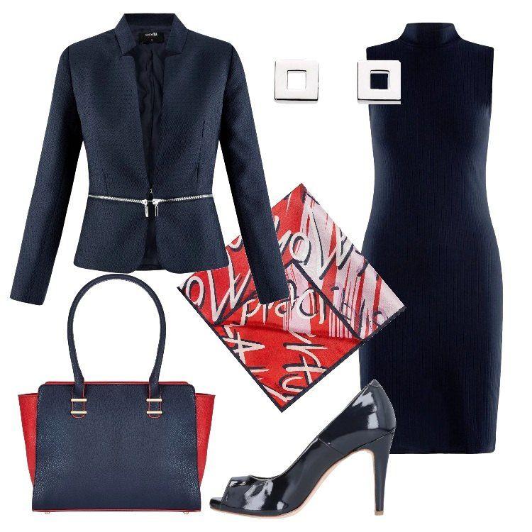 c117f36f4128 Outfit composto da tubino midi e giacca blu
