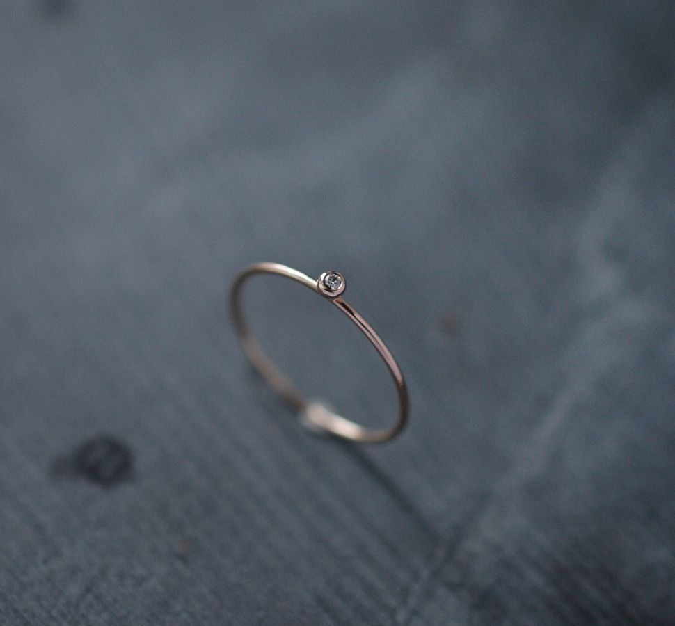 Solitaire yellow gold diamond ring handcrafted in Paris by