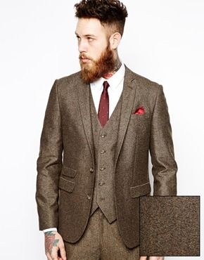 ASOS Slim Fit Brown Suit in Herringbone | wedding style ideas ...