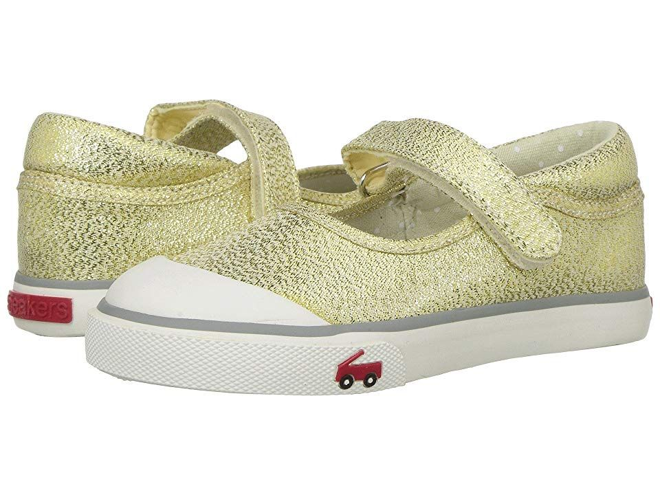 See Kai Run Kids Marie (Toddler/Little Kid) (Gold Glitter 1) Girl's Shoes. All See Kai Run shoes are designed to promote healthy foot development in kids. Float through the day with the shimmery Marie mary jane from See Kai Run Kids. Awarded the Seal of Acceptance from the American Podiatric Medical Association (APMA). Metallic or printed textile upper with reinforced toe. Adjustable hook-and-loop closure for easy on and off.  #SeeKaiRunKids #Shoes #ClosedFootwear #GeneralClosedFootwear #Gold