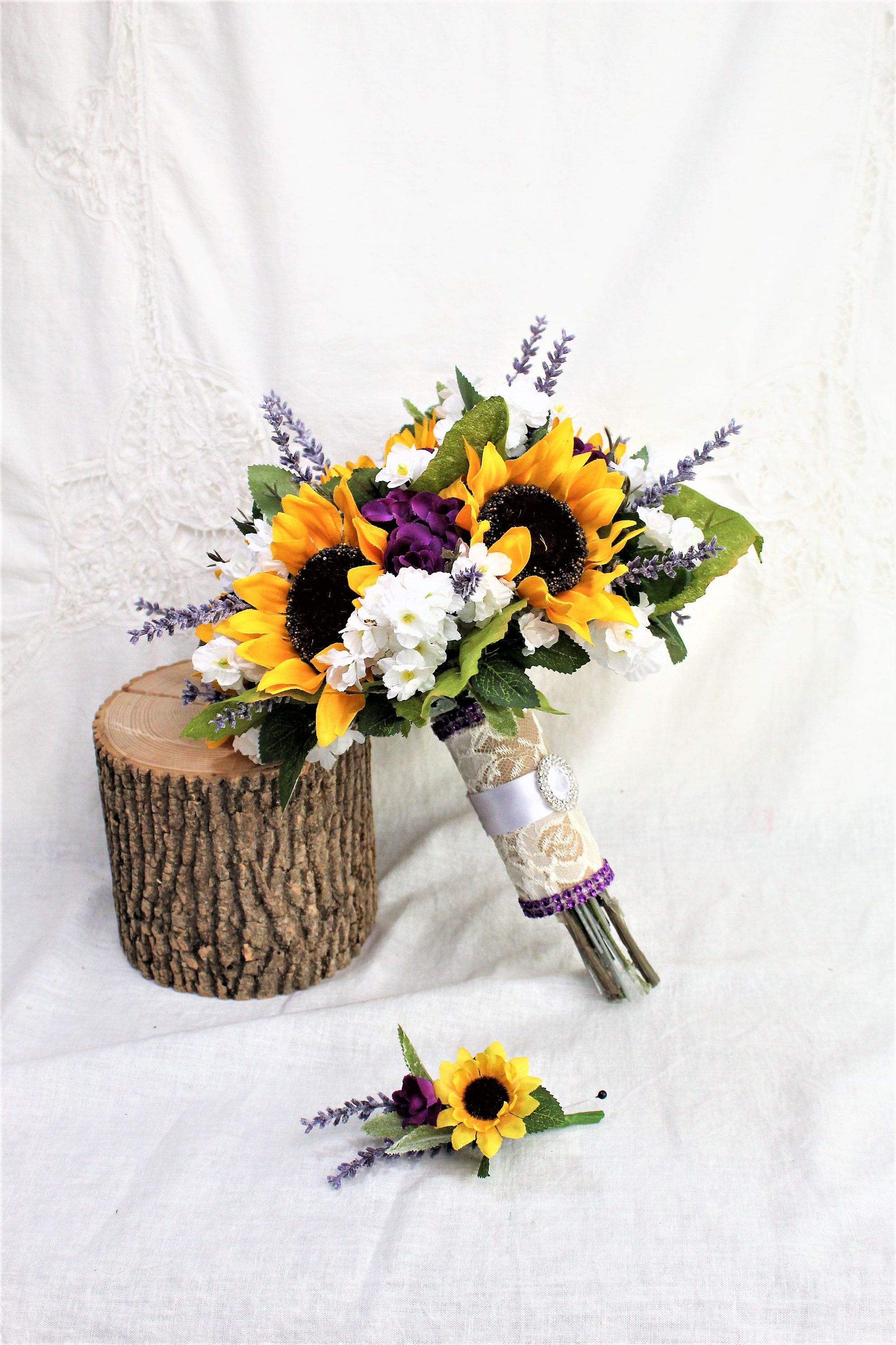 Rustic Wedding Sunflower Bouquet Purple Mini Roses And Lavender Rustic Sunflower Bouquet Wedding Bouquets Bride Diy Wedding Bouquet Sunflower Wedding Bouquet