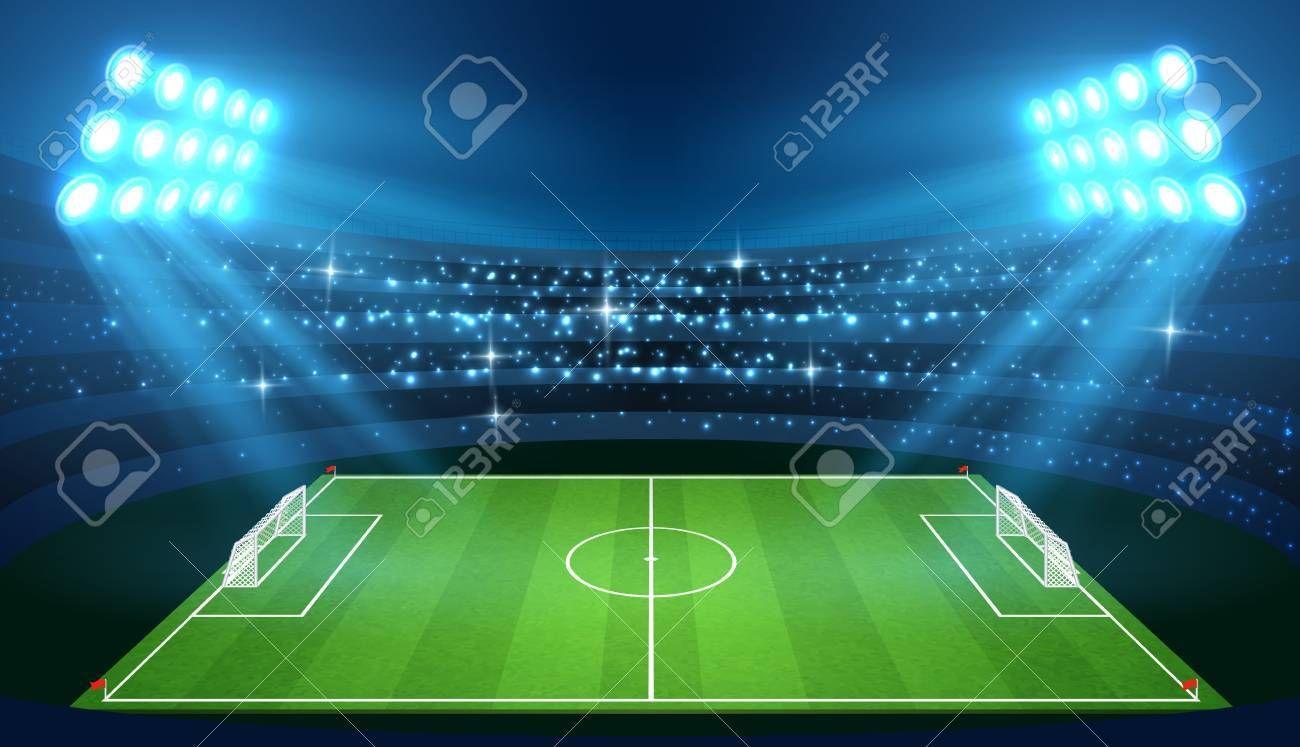 Soccer Stadium With Empty Football Field And Spotlights Vector Illustration Stadium For Soccer With Green Empty Field Football Field Soccer Stadium Soccer