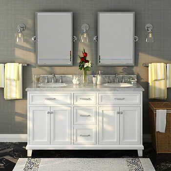 Edison 60 White Double Sink Vanity By Lanza Carrara Marble
