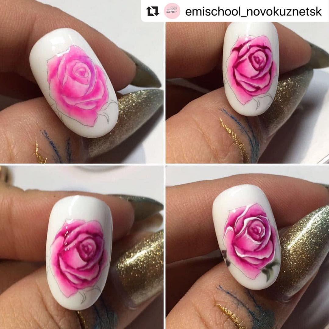 Как рисовать розочки на ногтях пошагово фото