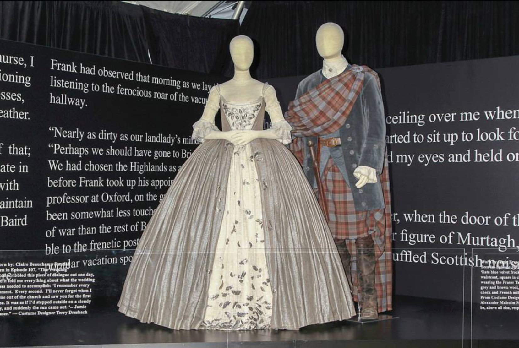 """Claire's wedding dress is made of silvered jute linen, with very fine cartridge pleating. The stomacher and petticoat is a silk/linen weave, covered in 450 hand embroidered silver plate acorns and leaves, and one silver dog bone. Layered behind the petticoat and stomacher, is another layer of silk cover in hand slivered mica shards, to create an organic shimmer effect."" - Costume Designer Terry Dresbach"