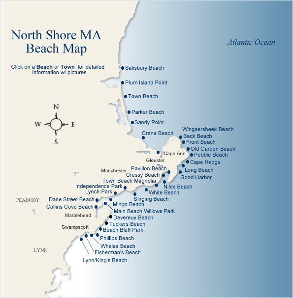 North Shore Beach Map  Mass Running Places  Pinterest