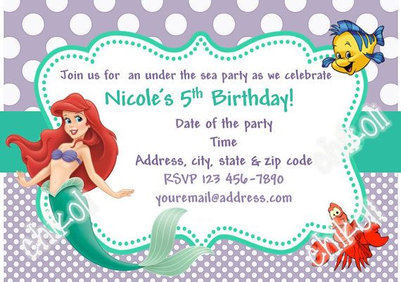 Little mermaid invitation ariel invitation free thank you card little mermaid party invitations ariel birthday party filmwisefo
