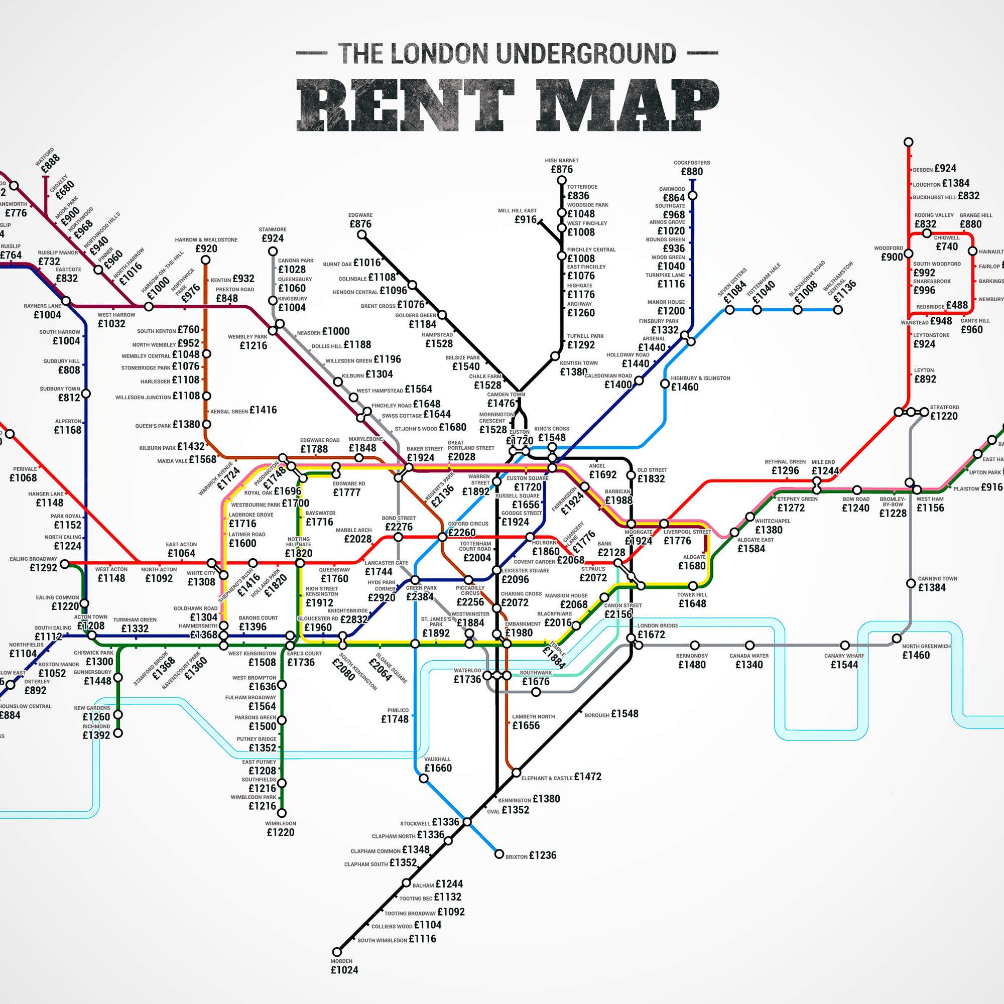 For Rent Map: The London Underground Rent Map: Where You Can't Afford To