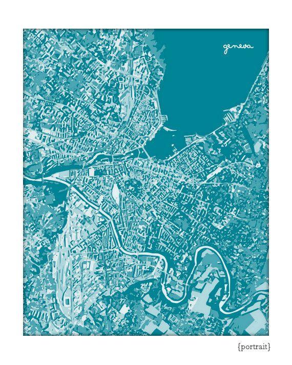 Geneva Cityscape Art Print Switzerland Graphic Map Poster 8x10 Choose Your Color