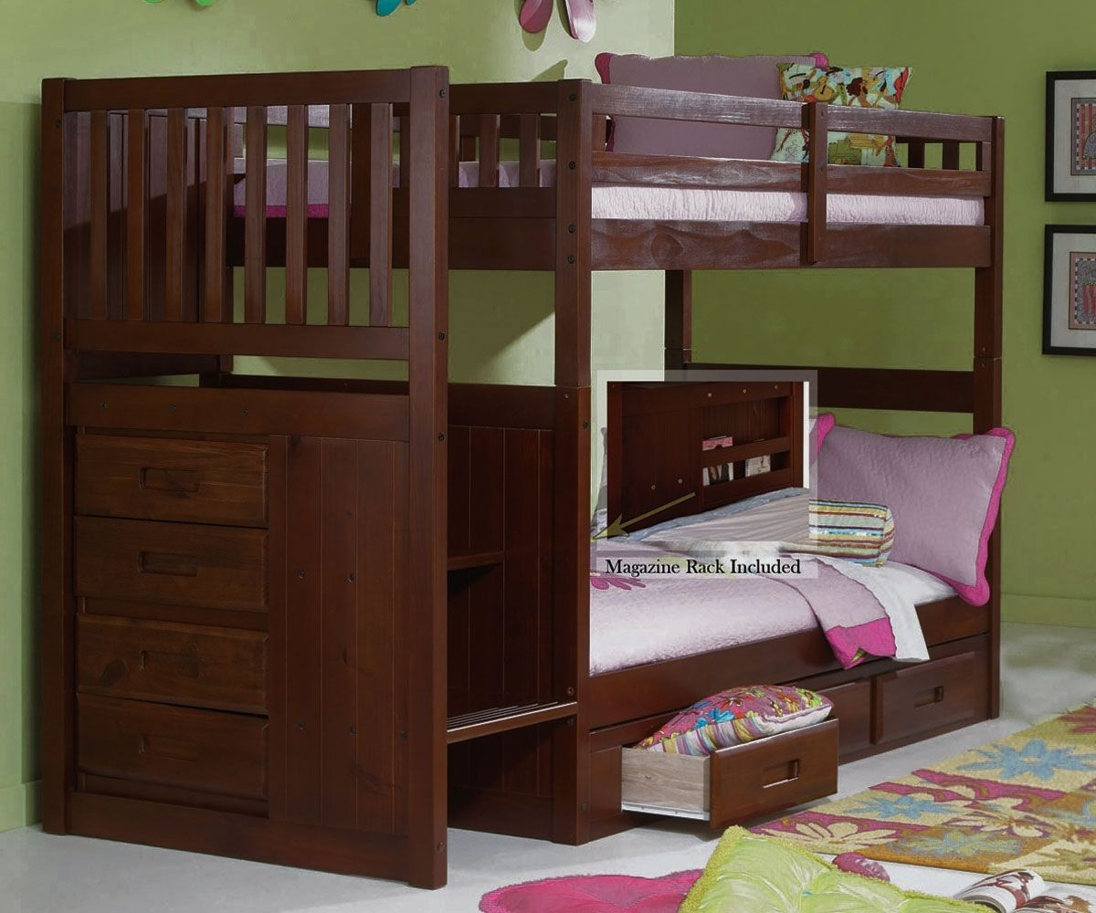Discovery World Furniture Merlot Twin Over Stair Stepper Bunk Bed DWF1114 2814 Kids Bedroom