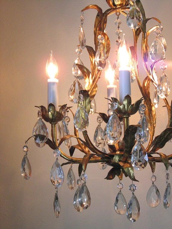 Vintage Chandelier Antique Chandelier Gilt Chandelier 4 Lights