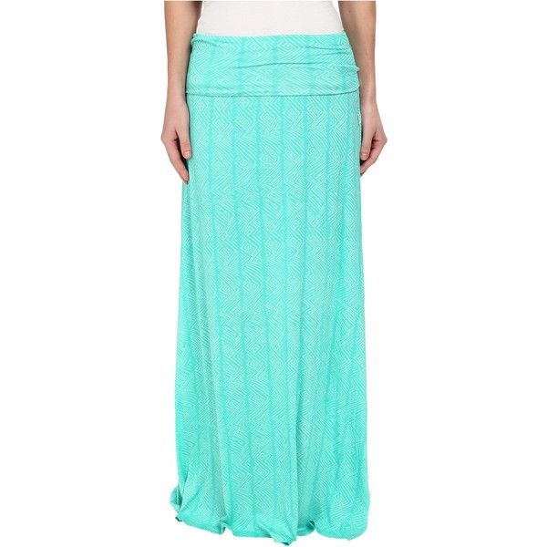 Volcom Another Day Skirt Women's Skirt, Green ($26) ❤ liked on Polyvore featuring skirts, green, print maxi skirt, long blue skirt, ankle length skirts, blue skirt and straight maxi skirt