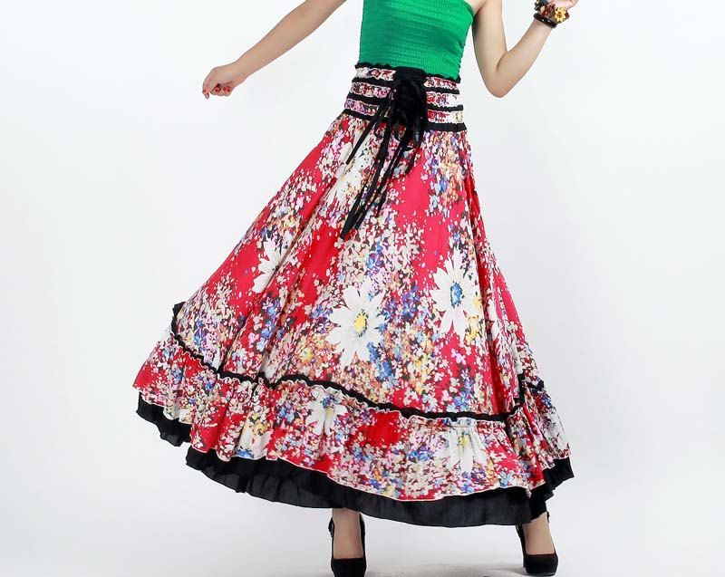 Red floral cotton Maxi skirt (0249). $39.20, via Etsy.
