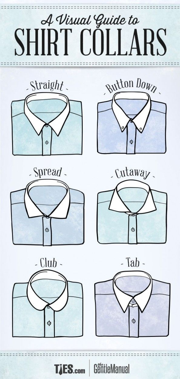 1e6805727d9273 A Visual Guide To Shirt Collars by The GentleManual via Ties.com. Check out  this post and others at Ties.com/blog.