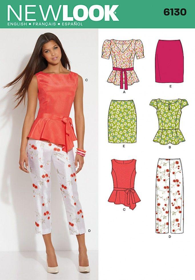 New Look Ladies Sewing Pattern 6130 Peplum Tops, Skirt, Trousers ...