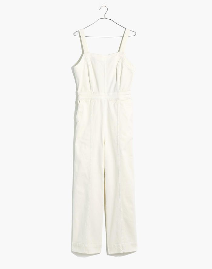 Tall Denim Seamed Wide-Leg Jumpsuit in Pure White #purewhite