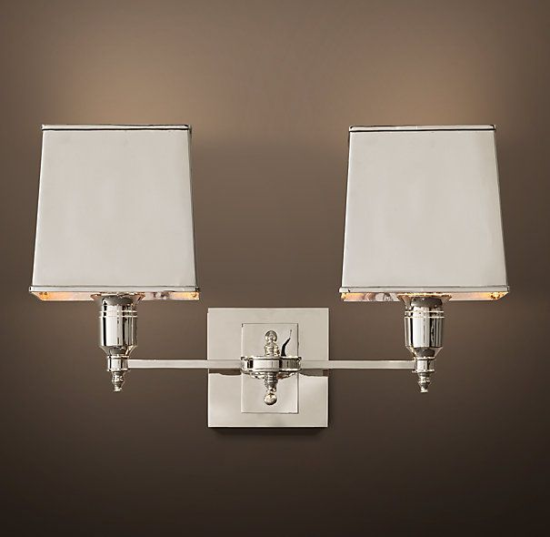 Merveilleux Claridge Sconce Polished Nickel With Metal Shade Double. Vanity  LightingBathroom ...