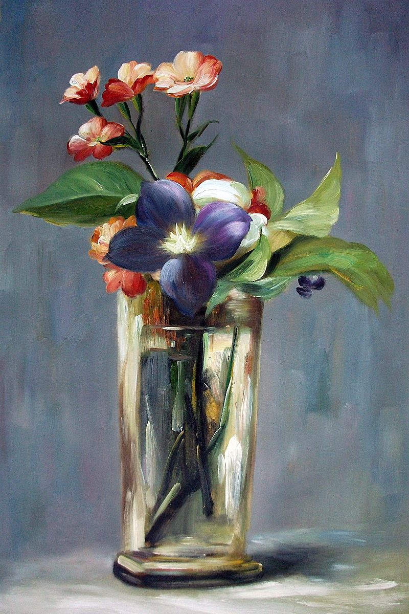 Manet Carnations And Clematis In A Crystal Vase At Overstockart Com Painting Art Art Painting