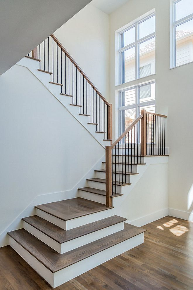 Open Entry With White Oak Hardwood Flooring And Hardwood Stair | Modern Wood Stair Railing | Creative Outdoor Stair | Traditional | Indoor | Balustrade | Cherry Wood