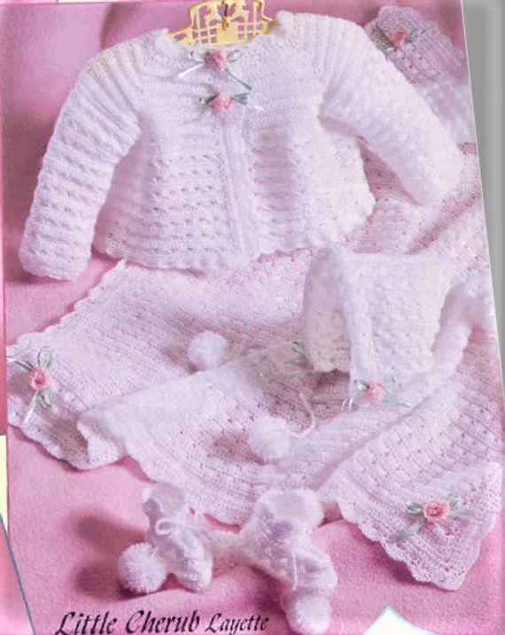 b605e2ae8 Vintage Crochet Pattern Baby Girls Little Cherub Ribbons Roses ...