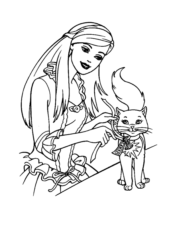 Barbie Princess Coloring Sheets  Barbie Princess and Cat Coloring