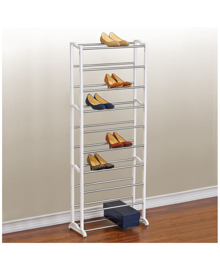 30 Pair Shoe Rack Is On Rue Shop It Now Measures 21 9in Wide X 10in Deep X 55 25in High Shoe Rack White Shoe Rack Shoe Rack Closet
