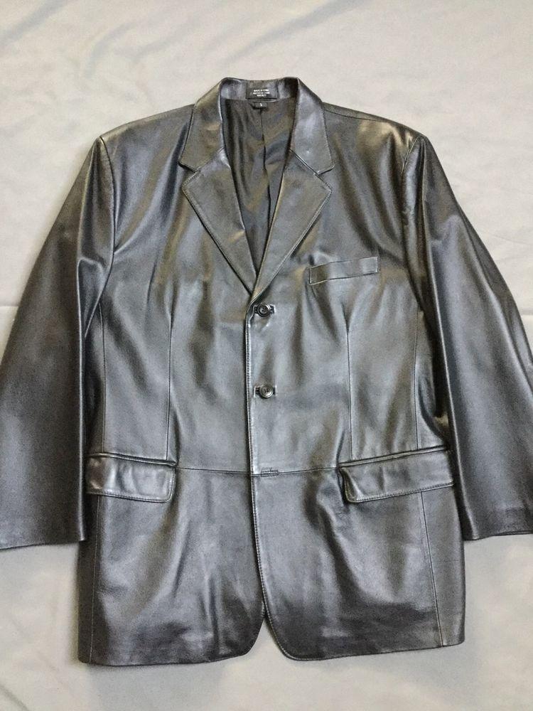 Men's J Ferrar Black Leather Blazer Jacket Large | eBay