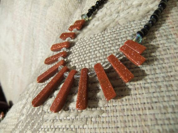 gold stone and crystals beaded necklace by MontanaRox on Etsy, $33.00