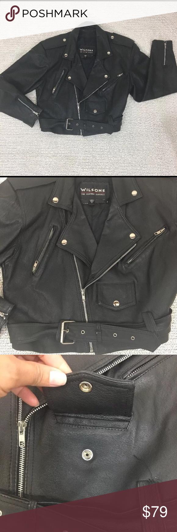 d00d298f0 Vintage Wilson's Leather Motorcycle Jacket M Women's Vintage ...