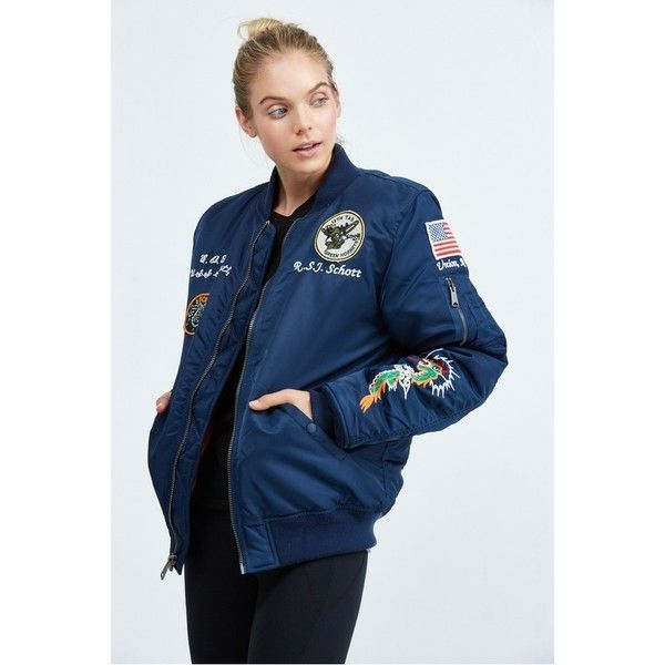 cf1a78d6da Schott Nylon Flight Satin Souvenir Baseball Jacket ($210) ❤ liked ...