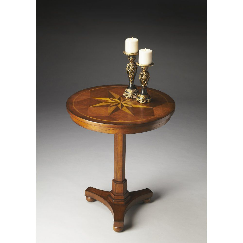 $379 Butler 26.5H in. Accent Table - Antique Cherry - Rich with elegance, the Butler 26.5H in. Accent Table - Antique Cherry has a fabulous inlaid top which brings classic style in spades. Made from s...