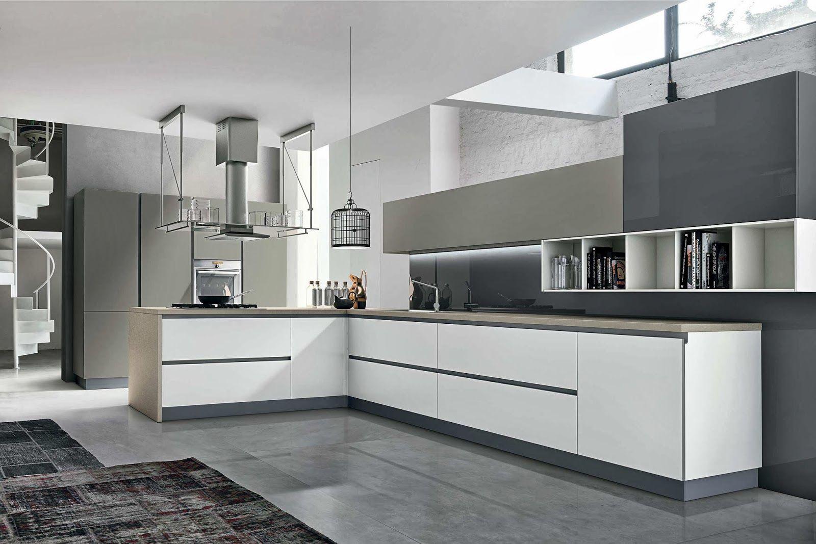 Cuisine Moderne Sans Poignées   Blanche Et Taupe   Composition #design De  Meubles Hauts #