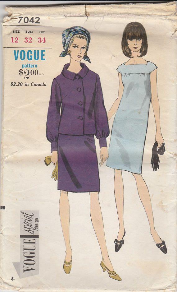 Dress & Jacket Pattern Vogue 7042 Size 12