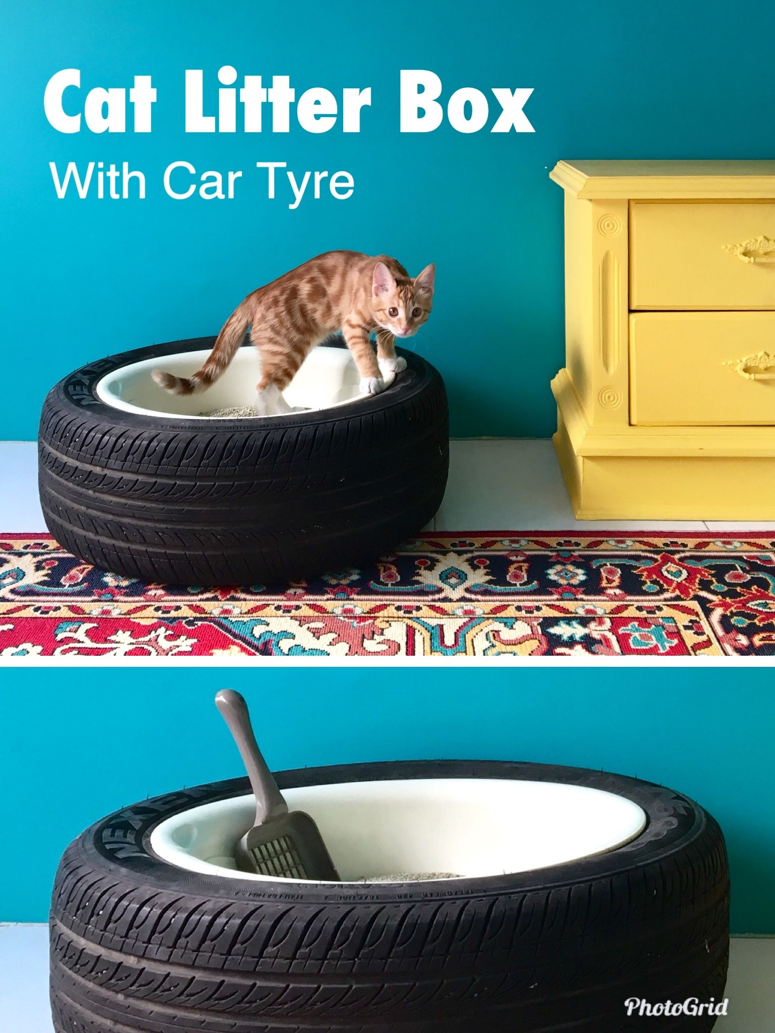 DIY cat litter box. It's easy to use for cats and a smart