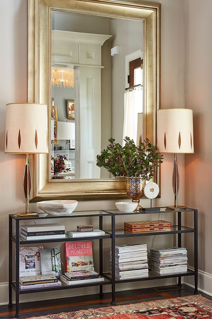 Large Gold Mirror Over Entry Console Table Home House Interior