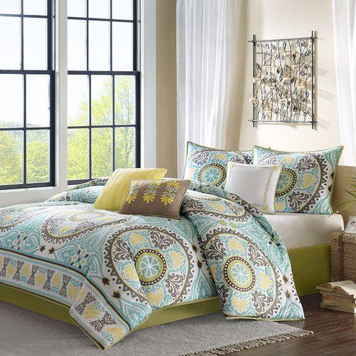 Madison Park Samara 7 Piece Comforter Set Comforter Sets Blue Comforter Sets Duvet Cover Sets