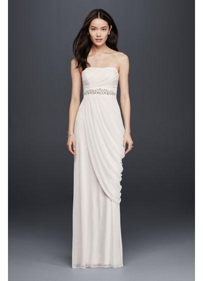$180 david's briday - Sheath Wedding Dress with Beading and Side Drape  SDWG0417