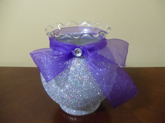 Purple and Silver Vase Centerpieces | silver glitter vase with purple ribbon wedding by 1DesignCrafts, $6.50 ...