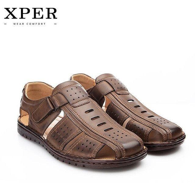 Mens Cut Out Leather Round Close Toe Sandals Beach Fishmen Casual Shoes Retro