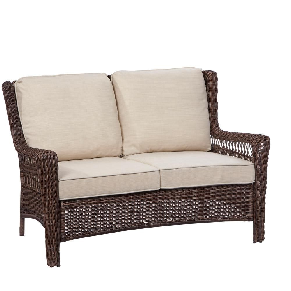 Hampton Bay Park Meadows Brown All Weather Wicker Patio Loveseat With Beige  Cushion