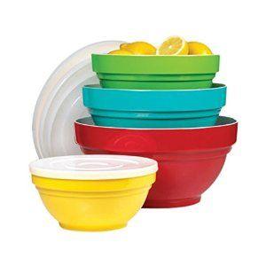 Amazon.com: Melamine Mixing Bowl Set with Lids, 4 Pieces: Kitchen & Dining