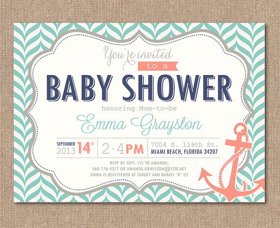 NAUTICAL BABY SHOWER Invitation Printable Baby By Kimberlyjdesign