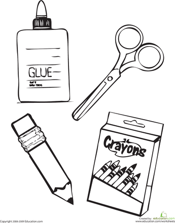 school supplies coloring pages School Supplies Coloring Page | meserii | Pinterest | School  school supplies coloring pages