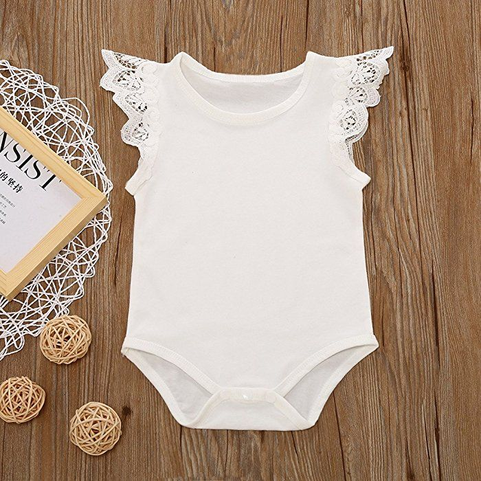 1b2761361505 Amazon.com  MIOIM Infant Baby Girls Lace Crochet Flying Sleeves White  Rompers