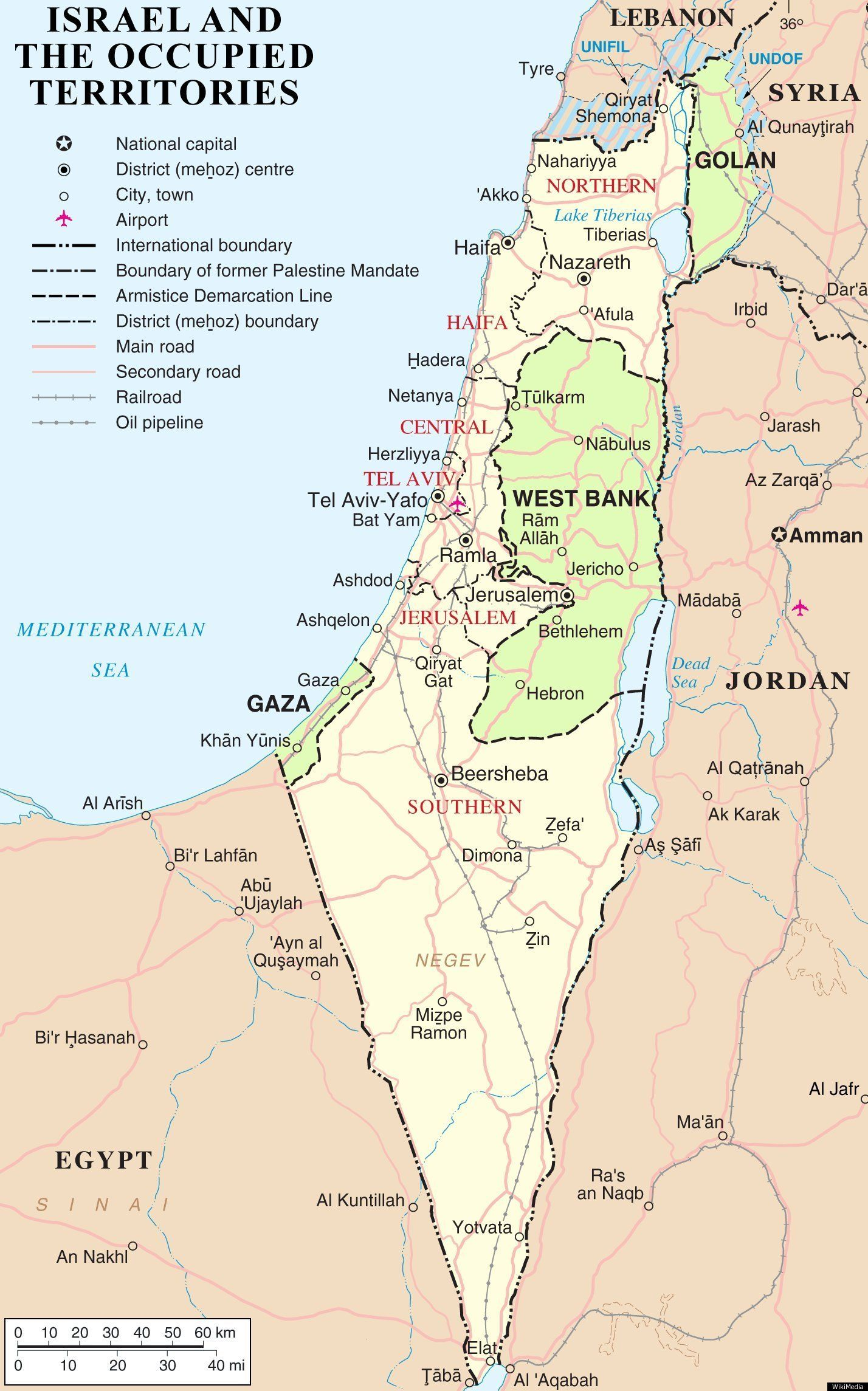 Israel MAP The Palestinian Regions Changing Borders  Palestine