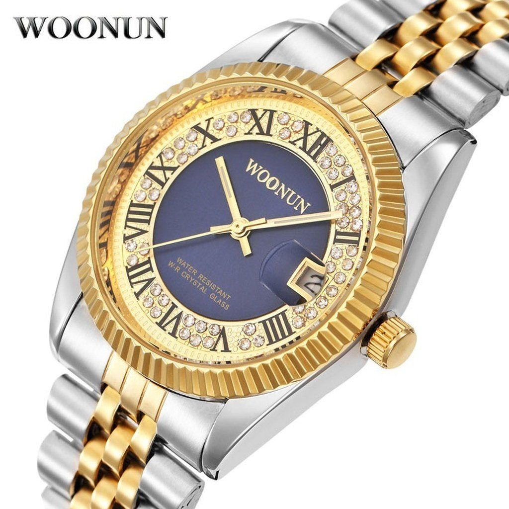 WOONUN Top Brand Logo Luxury Gold Watches Men Silver Gold